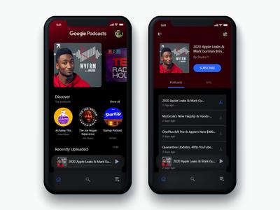 Google Podcast app redesign ios app design mobile app design google mobile app mkbhd podcast app cleandesign interfacedesign ux ui minimalist dailyui