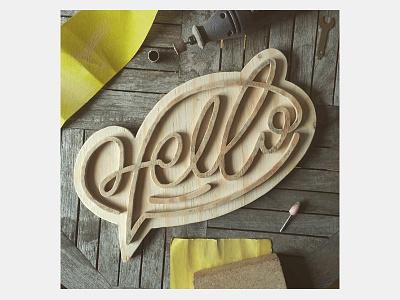 Hello Tree D craft lettering type wood hello