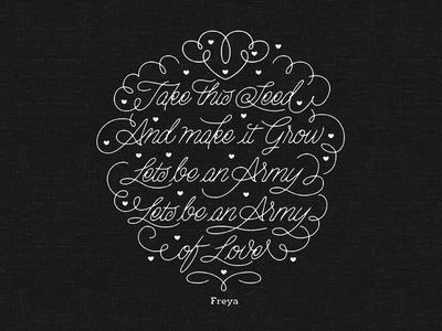 Lyrics calligraphy script flourish