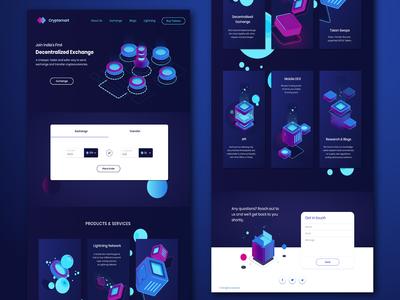 Crypto Exchange and transfer Website UI Design - Dark Theme