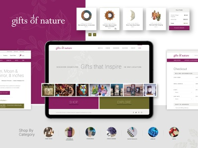 Gifts Of Nature :: UI Elements product nature image slider carousel card style checkout order web design ux ui gifts products hero