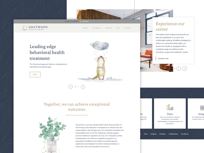 Greywood Health Center Website Launch illustrations mental health modern watercolor iconography icons graphics branding web design web ux ui