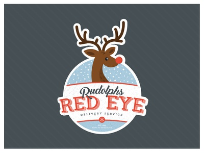 Rudolph's Red Eye Delivery Service snow typography logo delivery red eye reindeer rudolph xmas holidays days christmas 12