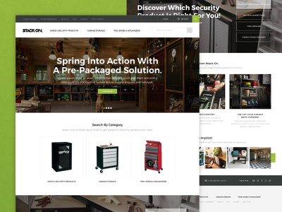 Stack-On :: Homepage organization shop e-commerce modern security safes tools homepage ux ui web design web