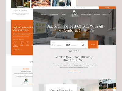 ARC The. Hotel :: Homepage suite discover reservation washington d.c. hospitality hotel homepage ux ui web design web