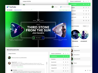 TwoTube :: Portal league voting battle songs music game portal ux ui web design web