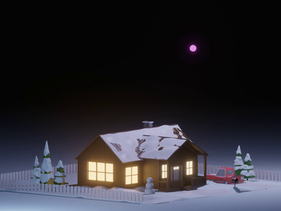 Happy New Year!! texture illustration house fireworks render eevee lowpoly 3d animation