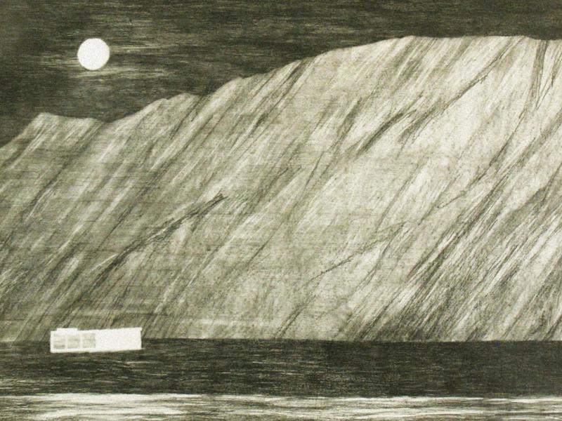 River And Moon bw moon landscape architecture night brutalist brutalism light atmosphere illustration drawing