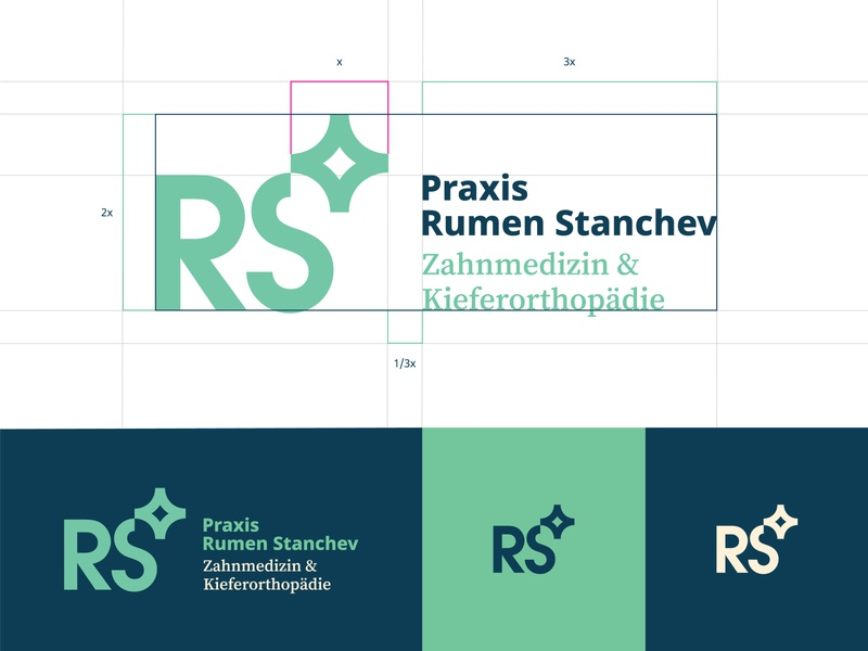 RS / Dentist Logo identity monogram typography sparkle mark logotype logo branding and identity icon dentist dental clinic clean branding