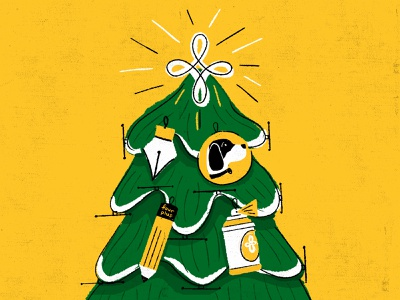 Four Plus Christmas dogs graphicdesign pencil pen tool dog christmas tree christmas illustration