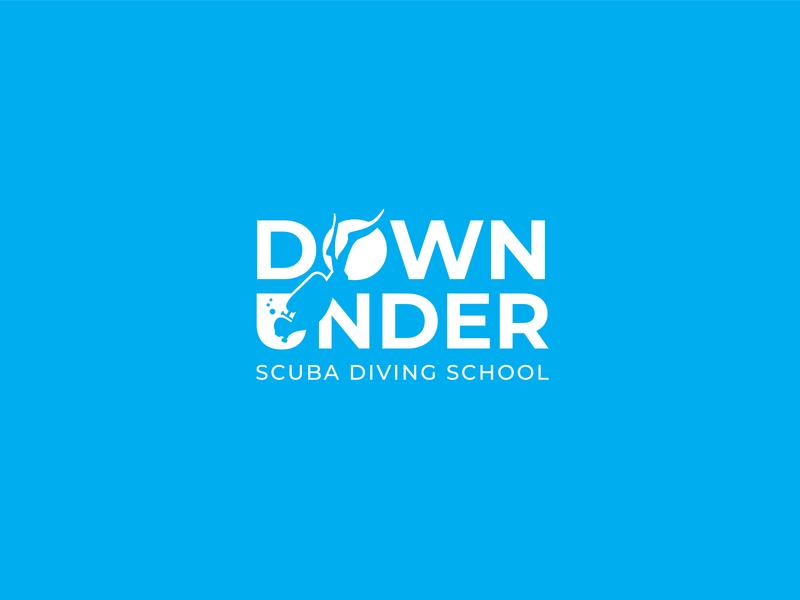 Scuba Diving School Logo logotype australia ocean sea diver scuba diver scuba scuba diving negative space logodesign logo