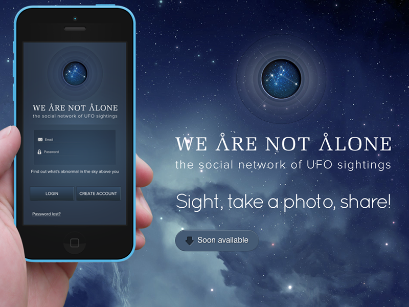 We are not alone - the app ufo app uiux ui ux ios community alien space research