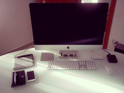 My new workspace workspace imac apple desk magic mouse