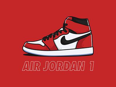 Air Jordan 1 branding typography nike shoes nike air jordan vector identity icon clean minimal illustrator design artwork art
