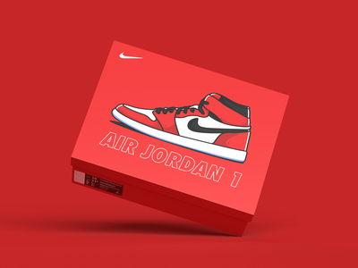 Air Jordan 1 - Sneaker Box packaging design sneaker packaging sneakers nike air jordan nike packaging illustration branding identity clean art minimal design