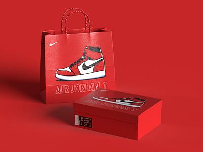 Air Jordan 1 - Sneaker Box & Bag sneaker design nike shoes nike air jordan vector sneaker nike packaging minimum logo illustrator illustration identity icon flat drawing design clean cartoon branding art