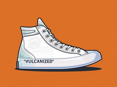 Off-White x Converse Chuck Taylor All-Star sneakerhead shoe converse off white sneakers sneaker illustrator vector illustration clean art minimal identity icon flat design