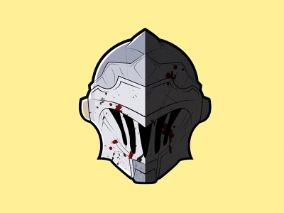 Goblin Slayer cartoon virtual knight helmet japan illustrator vector illustration clean art minimal identity icon flat design