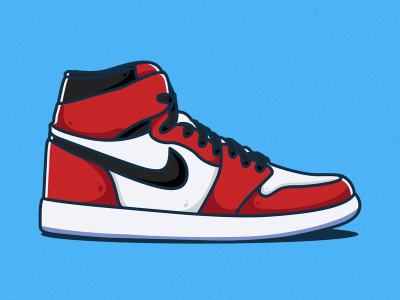 Air Jordan 1 nike air nike sneaker type drawing logo cartoon branding ui illustrator illustration clean art vector minimal identity icon flat design