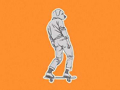 Dog Skater Illustration - Poster Design poster art illustration design illustration art photoshop art photoshop drawing cartoon illustrator illustration clean art minimal identity icon flat design