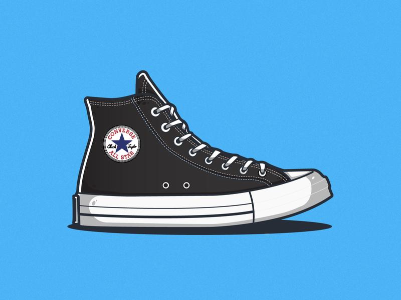Converse Shoe - Black gradient shoe design flat illustration flat design shoes converse sneakers sneaker drawing vector illustrator illustration identity icon clean art flat minimal design