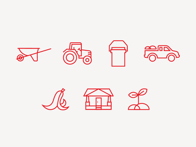 Compost Wheels Icons sprout plant bungalow house banana peel truck bucket tractor wheelbarrow compost icons