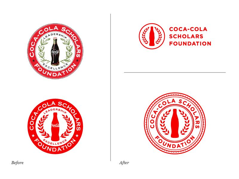 Coca-Cola Scholars Foundation Logo Evolution before and after education scholarship coca-cola coke evolution redesign seal logo