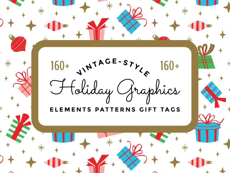 Vintage Holiday Graphics illustration vector stock for sale seamless pattern gift tags elements graphics creative market
