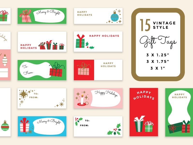 Vintage Holiday Gift Tags vector for sale present tags christmas xmas holiday gift creative market retro vintage illustration