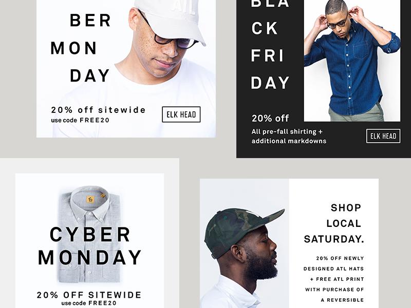 Elkhead Social Posts details scandinavian clean modern typography layout social mens fashion