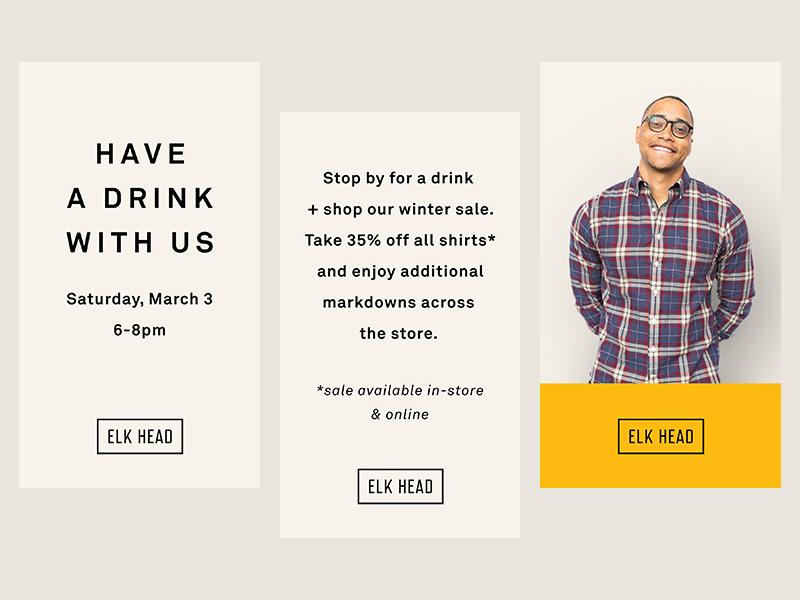 Elk Head Instastory minimalist mens fashion branding social media instagram sale ecommerce