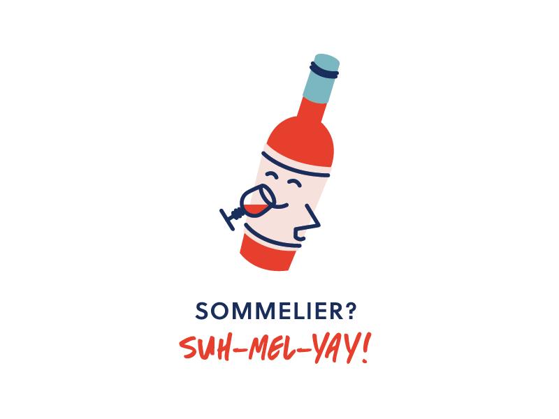 Suh-mel-yay! cute illustration branding wine boutique