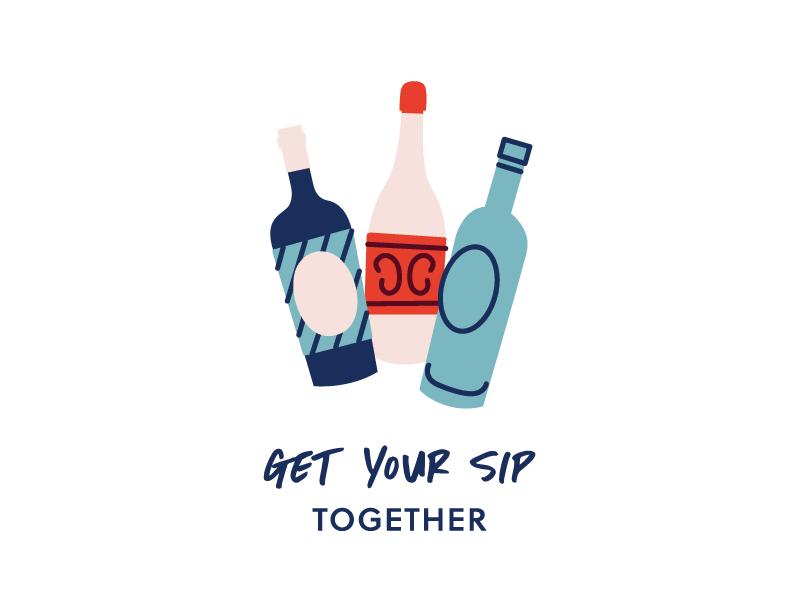 Get your sip together! wine boutique cute branding illustration wine bottles