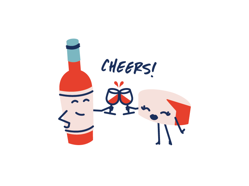 Cheers! illustrations branding cute fun wine boutique charcuterie wine and cheese