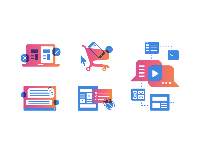 Full Story Blog Spot Illustrations - eCommerce product tech gradient graphics illustration blog