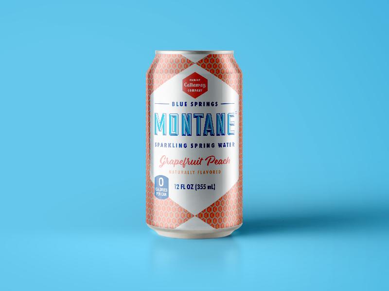 Montane Grapefruit Peach rebrand vintage package design packaging sparkling water drink beverage