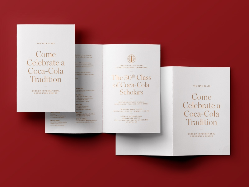 Coke Scholars 2018 Banquet Invite coca-cola coke print collateral event banquet typography layout invitation