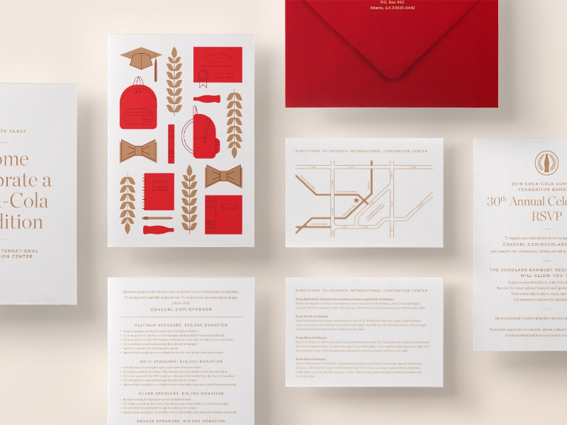 Coke Scholars 2018 Banquet Collateral rsvp map illustration print event banquet collateral invitation invite