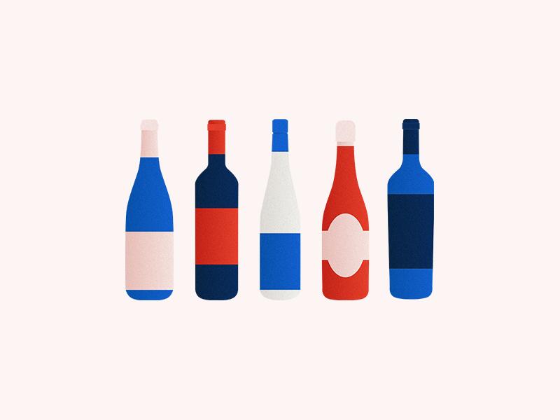 Wine Bottles gradient illustration merlot cabernet rose riesling champagne wine