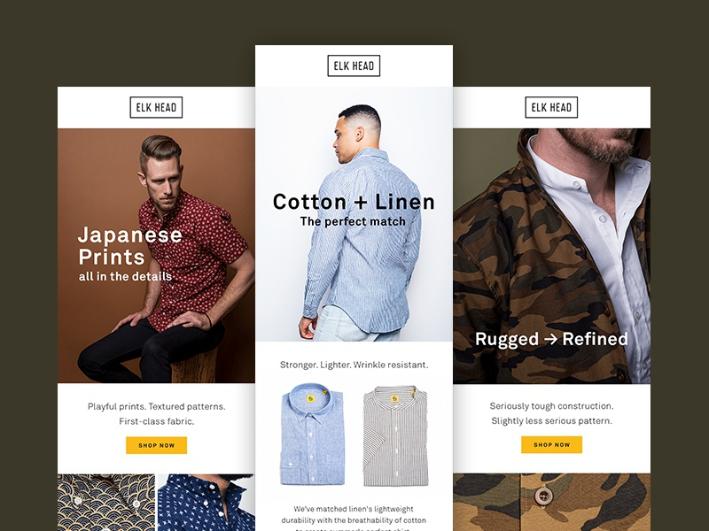 Elk Head Email Newsletters mens fashion layout typography online ecommerce newsletter template email