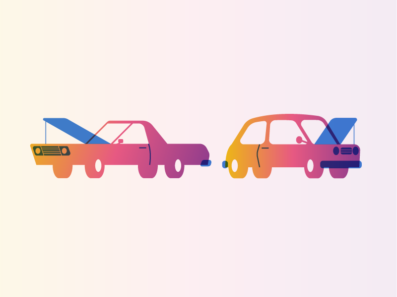 FullStory cars gradient automobile cars editorial illustration