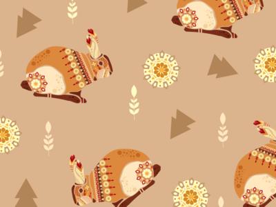 "Pattern Illustration""Rabbit"" with ethnic mix"