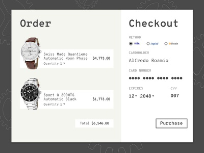Checkout Page monospace watch swiss credit card checkout dailyuichallenge