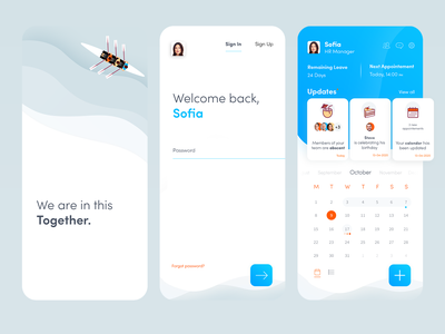 HR management mobile app calender dashboad human resources hr mobile interface clean inspiration creative design ux ui
