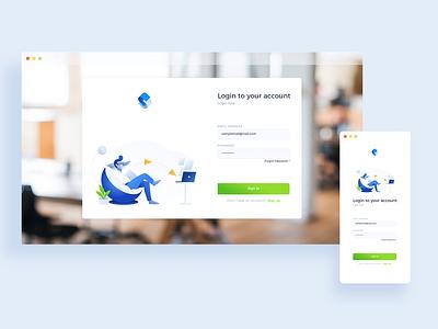 Responsive login screen minimal interface clean design platform illustration responsive design responsive login web ux ui