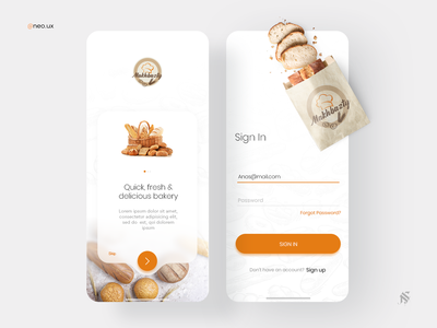 Bakery shop app Sign in / On boarding mobile ui mobile bread bakery app minimal interface inspiration creative design ux ui