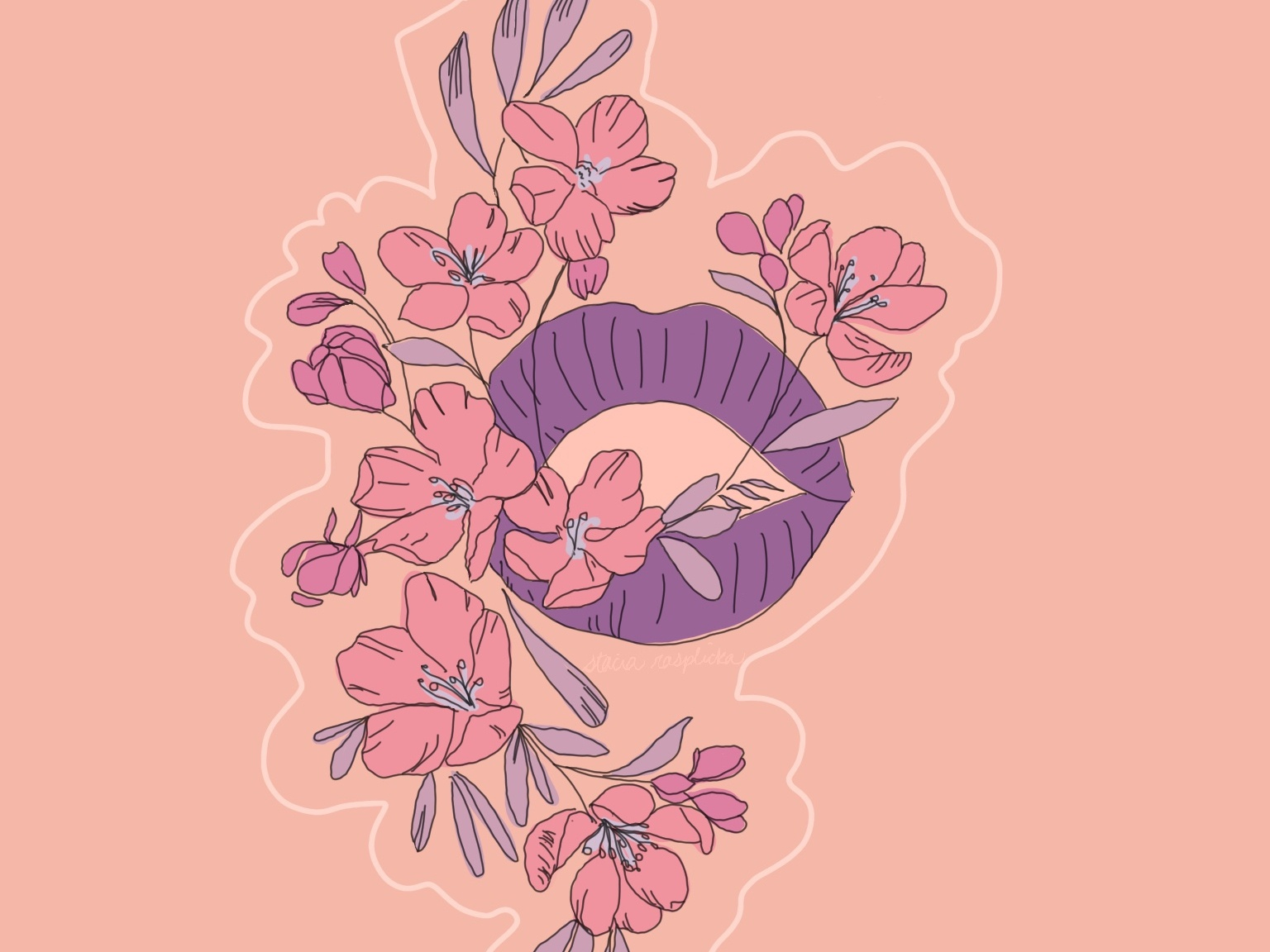Lipstick from the Garden floral logo vector graphic design procreate illustration illustrator spring