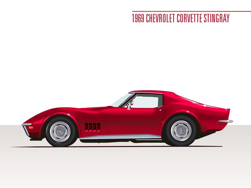 1969 Corvette Stingray illustrator red sportscar classic car illustration