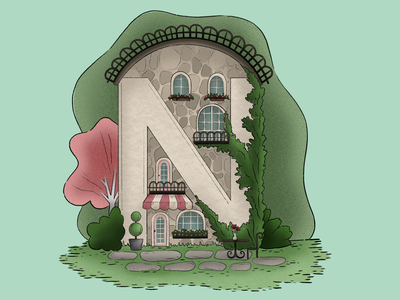"""""""N""""otable Cafe on Main brunch french france restaurant bistro lunch cafe house design illustration childrens book coloring page coloring book"""