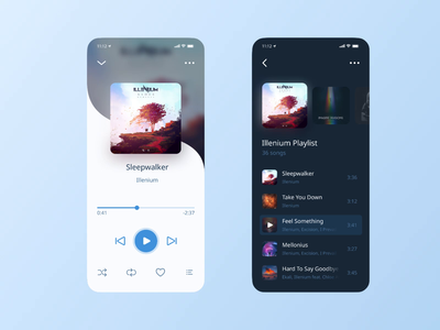 Music Player App uxui ux player music ui mobile iphone cover light dark blue design hello dribbble debut ios digital audio app